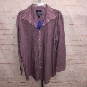 Stanford button front dress shirt fitted  17.5